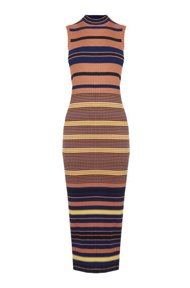 Warehouse, Stripe Ribbed Column Midi Dres Multi 0
