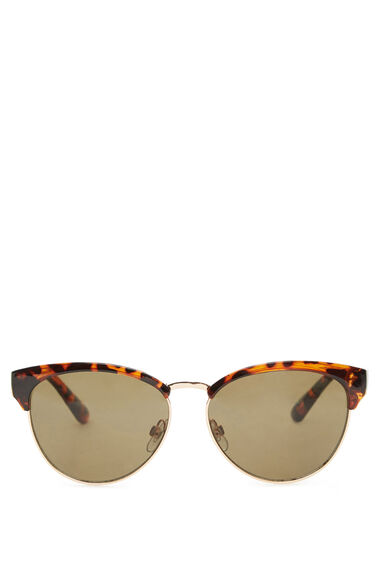 Warehouse, Tort Catmaster Sunglasses Brown Print 0