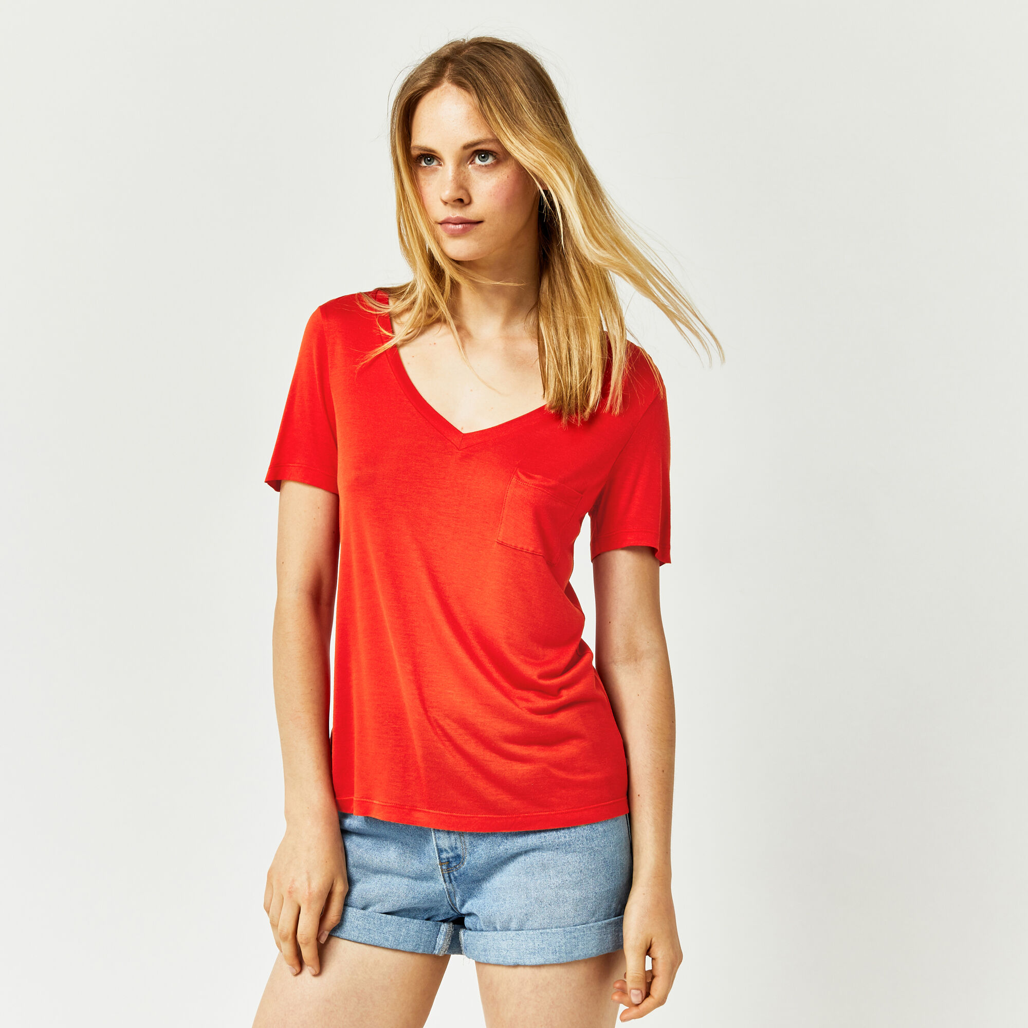 Warehouse, V NECK SMART TEE Bright Red 1