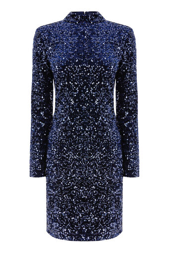 Warehouse, VELVET SEQUIN HIGH NECK DRESS Navy 0