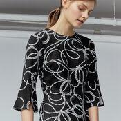Warehouse, ROPE PRINT PONTE DRESS Black Pattern 4