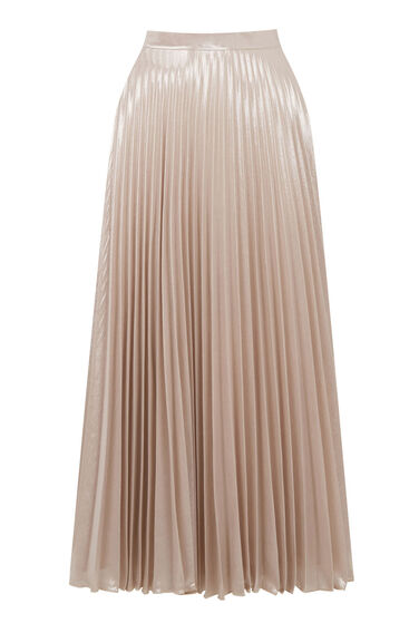 Warehouse, PLEATED LAMÉ SKIRT Light Pink 0