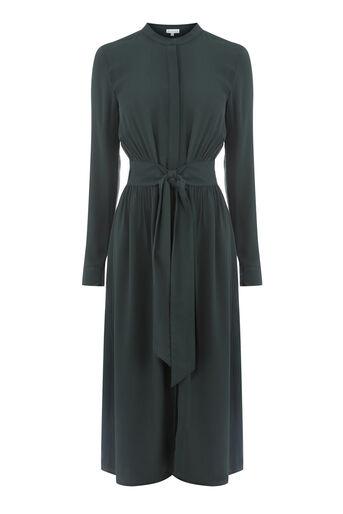 Warehouse, OPEN BACK SHIRT DRESS Dark Green 0
