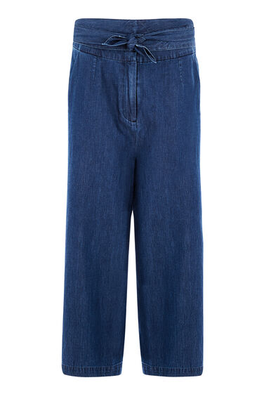 Warehouse, Tie Front Culottes Mid Wash Denim 0