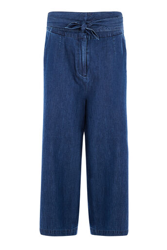 Warehouse, TIE FRONT CULOTTE Mid Wash Denim 0