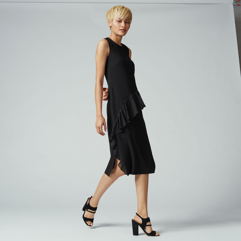 Warehouse, FRILL FRONT DRESS Black 1