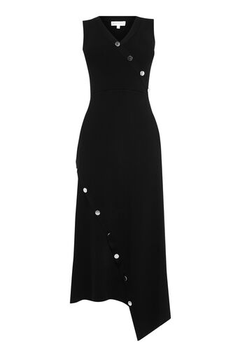 Warehouse, ASYMMETRIC BUTTON MAXI DRESS Black 0