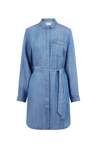 Warehouse, Step Hem Utility Shirt Dress Mid Wash Denim 0