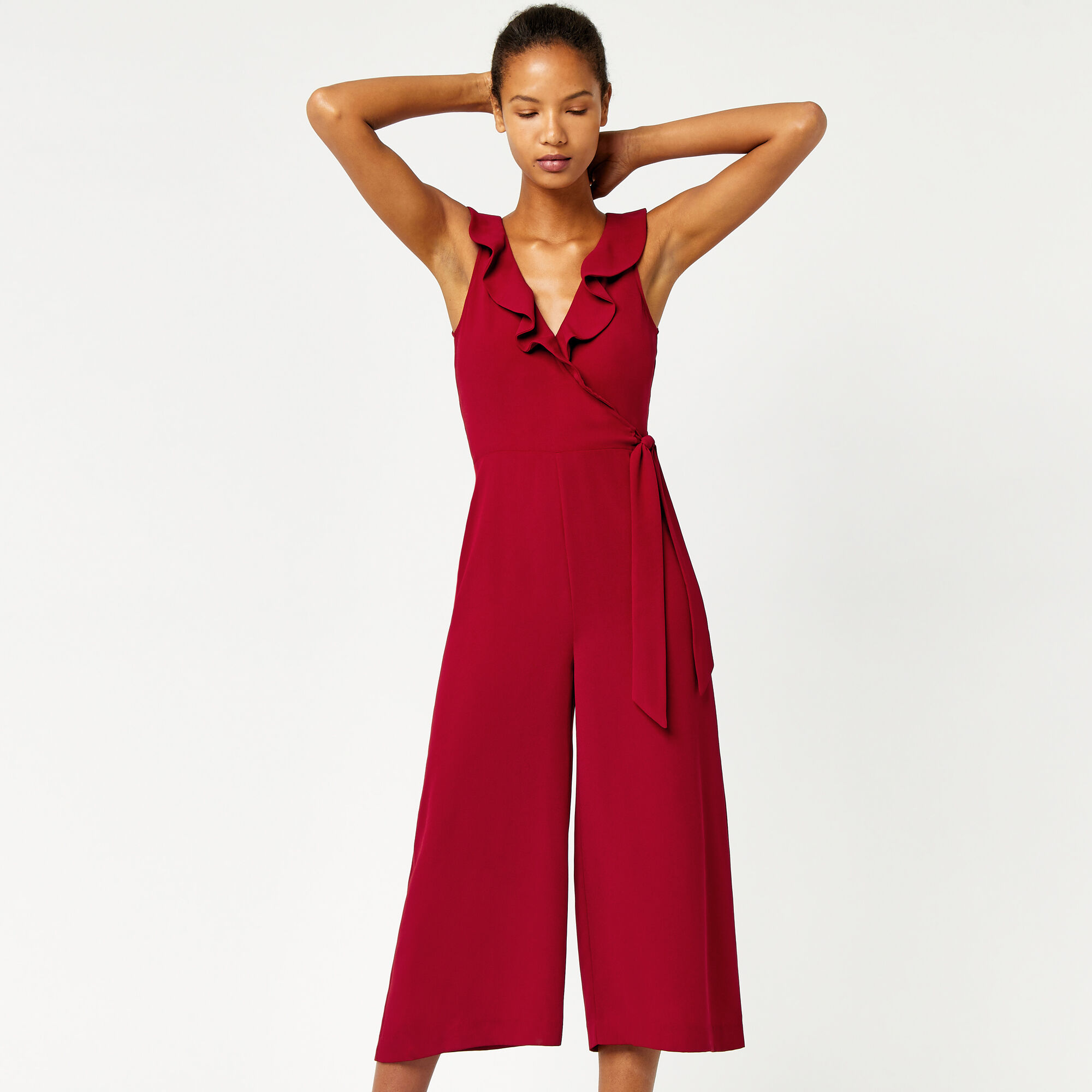 Warehouse, FRILL WRAP JUMPSUIT Dark Red 1