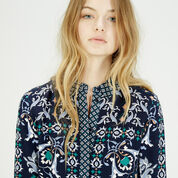 Warehouse, Persian Print Shirt Dress Blue Pattern 4