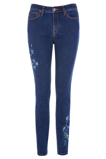 Warehouse, EMBROIDERED SKINNY CUT JEANS Mid Wash Denim 0