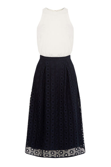 Warehouse, LACE AND WOVEN MIX PROM DRESS Navy 0