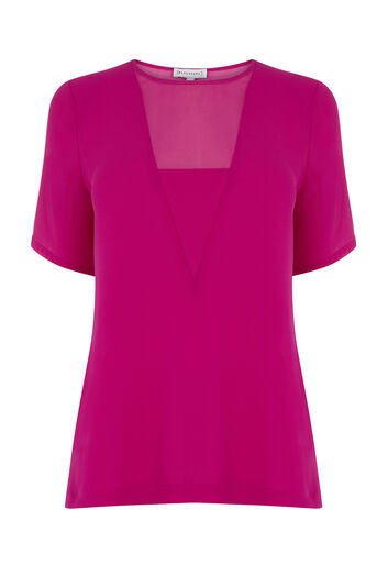 Warehouse, V DETAIL WOVEN MIX TEE Fuchsia 0