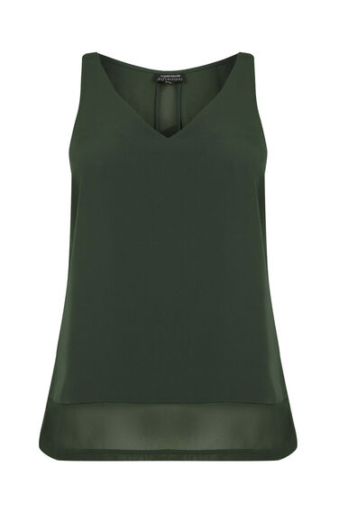 Warehouse, CHIFFON DETAIL VEST Khaki 0