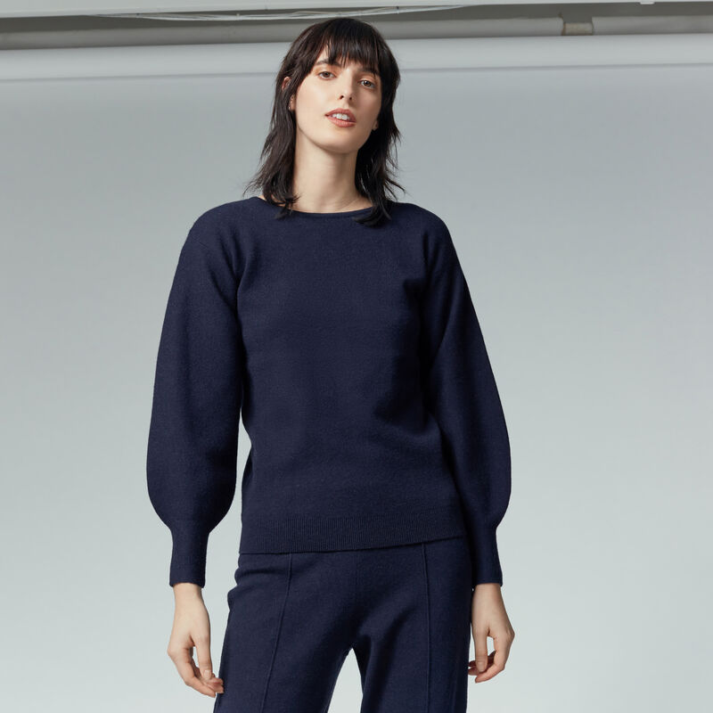 Warehouse, MILANO BLOUSON SLEEVE JUMPER Navy 1