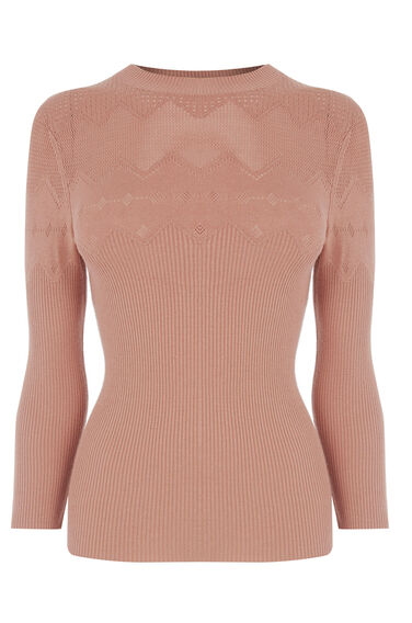 Warehouse, POINTELLE KNITTED TOP Peach 0
