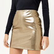 Warehouse, METALLIC FAUX LEATHER SKIRT Gold Colour 4
