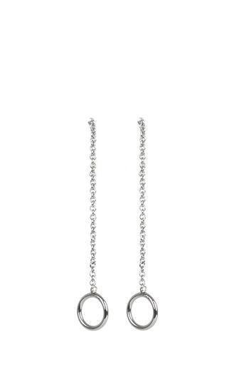 Warehouse, Circle Push Through Earrings Silver Colour 0