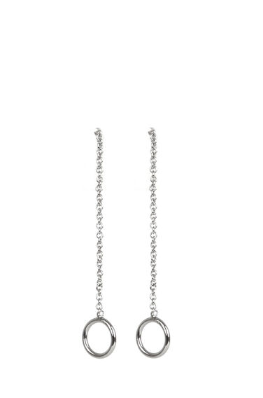 Warehouse, Circle Push Through Earrings Silver Colour 0