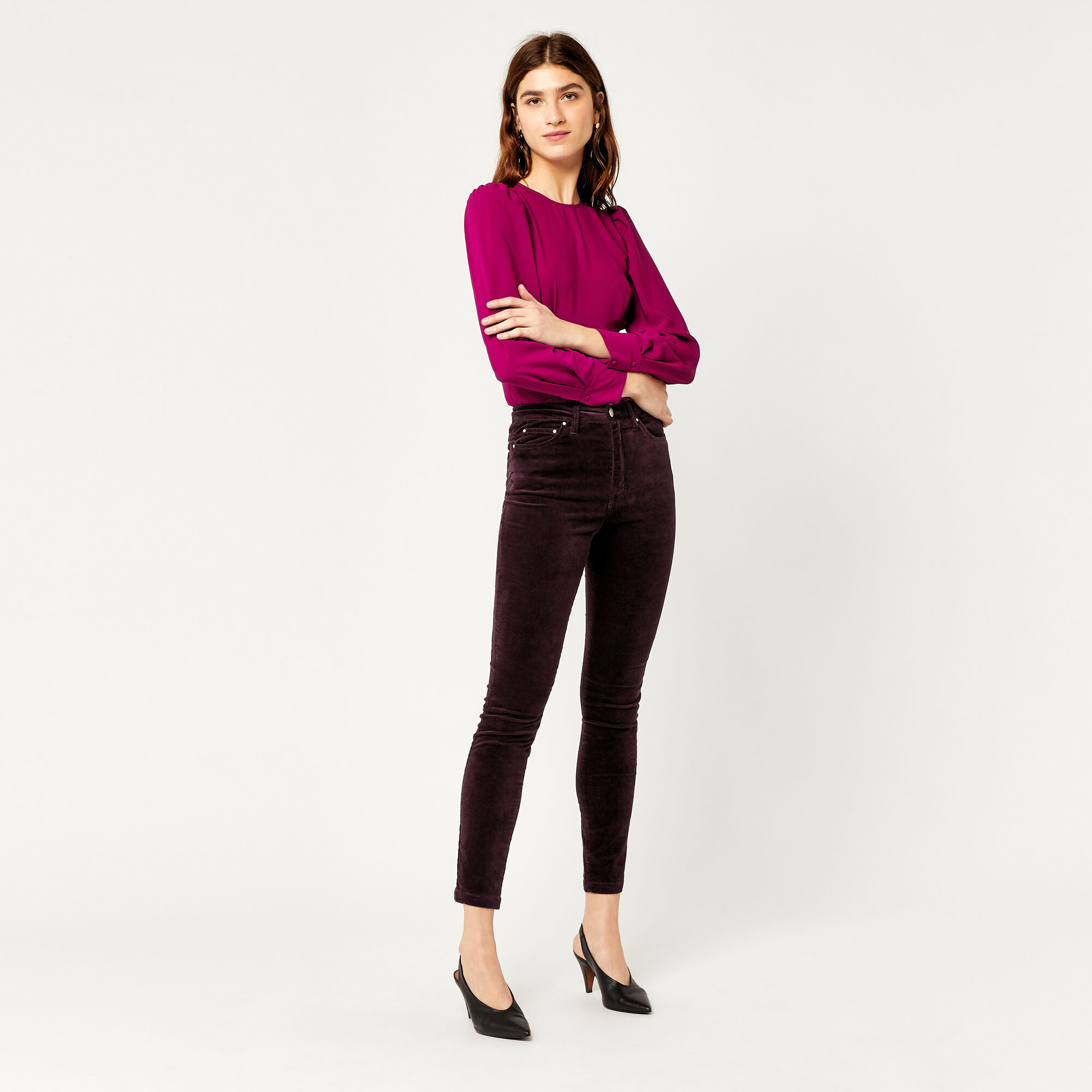 Warehouse, HIGH RISE VELVET SKINNY JEANS Berry 1