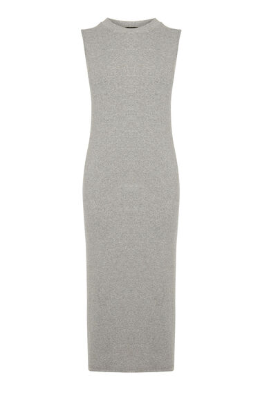 Warehouse, RIB MIDI DRESS Light Grey 0