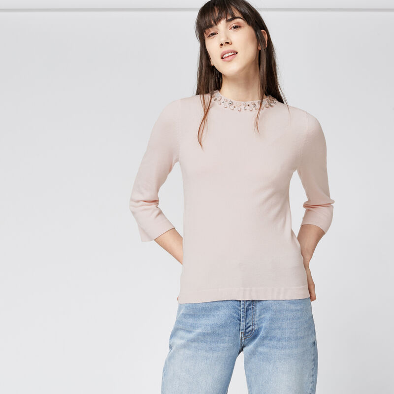 Warehouse, EMBELLISHED NECK COLLAR JUMPER Light Pink 1