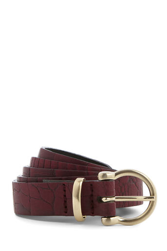 Warehouse, LEATHER SKINNY CROC BELT Berry 0