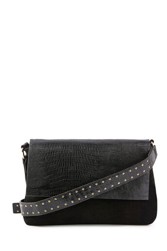 Warehouse, STUDDED STRAP CROSSBODY BAG Black 0