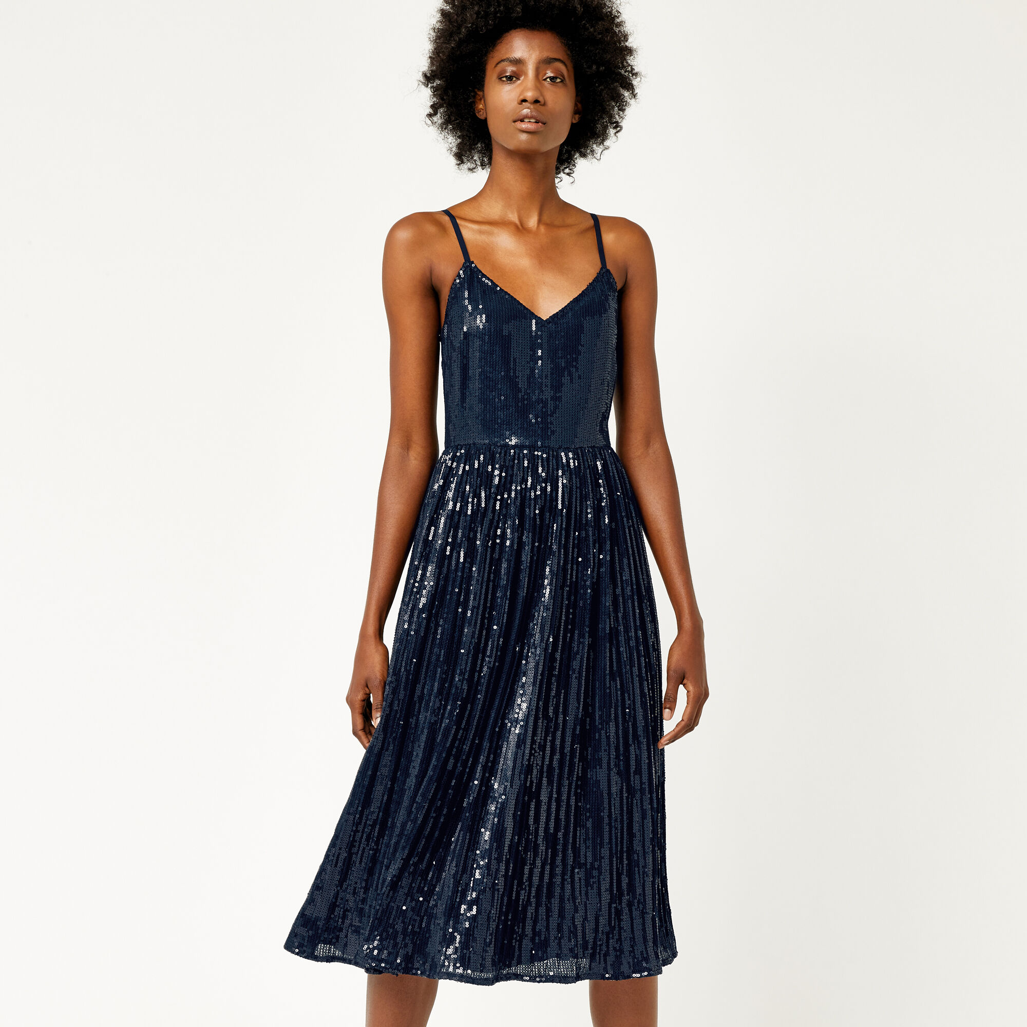 Warehouse, PLEATED SEQUIN CAMI DRESS Navy 1