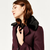 Warehouse, Double Breasted Faux Fur Coat Berry 4