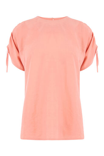 Warehouse, RUCHED SLEEVE TOP Light Pink 0