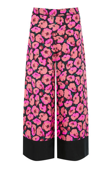 Warehouse, POPPY PRINT SILK TROUSER Pink Pattern 0