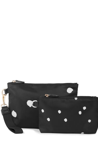 Warehouse, Dotty Print Wash Bag Set Black Pattern 0