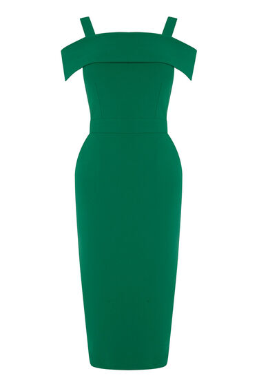 Warehouse, CREPE OFF THE SHOULDER DRESS Bright Green 0