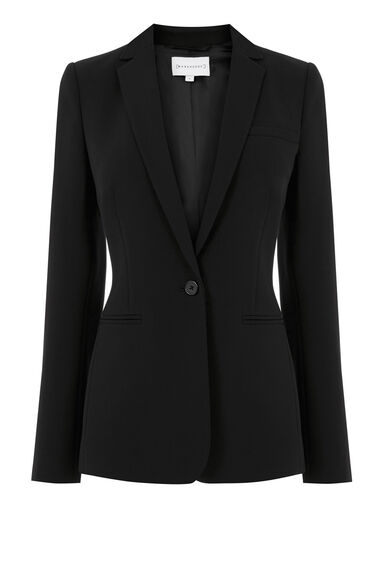 Warehouse, ONE BUTTON BLAZER Black 0