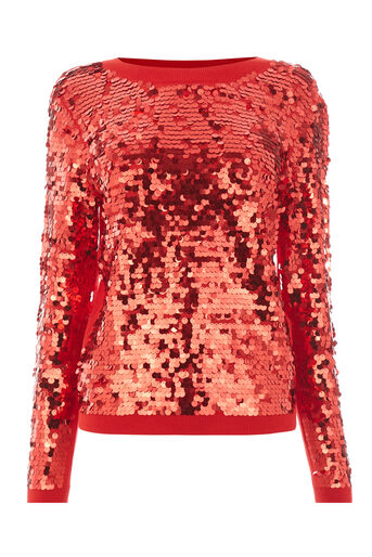 Warehouse, SEQUIN DISC JUMPER Bright Red 0