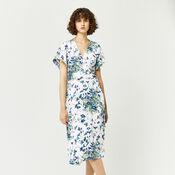 Warehouse, FULL BLOOM WRAP DRESS Cream 2