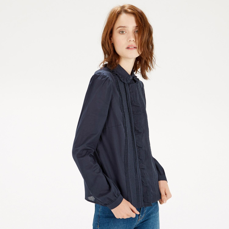 Warehouse, Lace Collar Ruffle Shirt Navy 1