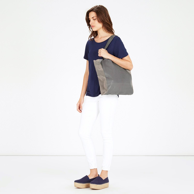 Warehouse, Leather Unlined Shopper Bag Light Grey 1