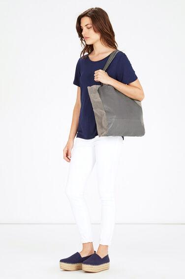 Warehouse, Leather Unlined Shopper Bag Light Grey 0