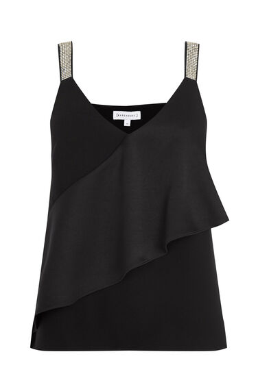 Warehouse, FRILL FRONT DIAMANTE TOP Black 0