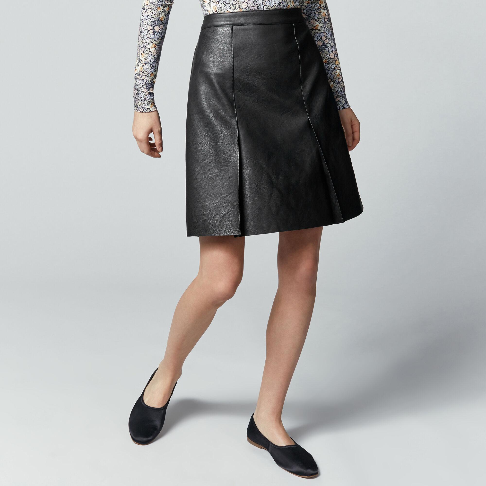 Warehouse, Faux Leather Knee Length Skirt Black 1