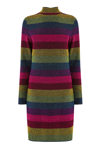 Warehouse, RAINBOW METALLIC STRIPE DRESS Multi 0