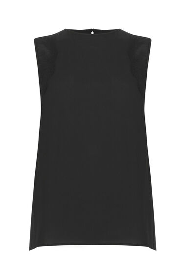 Warehouse, SLEEVELESS LACE DETAIL TOP Black 0