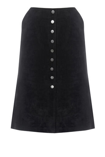 Warehouse, Suede Button Midi Skirt Black 0