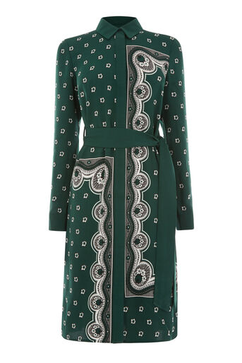 Warehouse, BANDANA PRINT SHIRT DRESS Dark Green 0