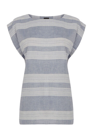 Warehouse, Textured Stripe T-Shirt Blue Stripe 0