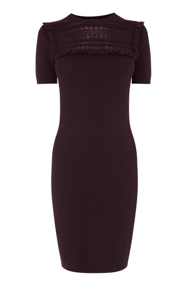 Warehouse, PRETTY STITCH KNIT DRESS Berry 0