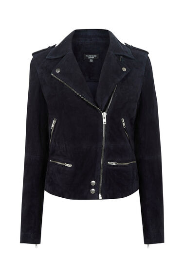 Warehouse, Suede Biker Jacket Navy 0