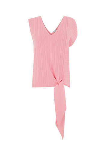 Warehouse, MULTI RIB TIE HEM TOP Light Pink 0